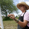 "David Le/Gloucester Daily Times. Joann Phillips, of Gloucester paints a landscape scene at Seine Field as part of a workshop run by local artist David Curtis called ""Painting Trees."" 8/25/11."