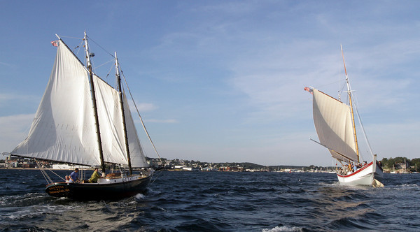David Le/Gloucester Daily Times. The Schooner Ardelle, right, is joined by the Bald Eagle, left, as she makes her way towards Maritime Gloucester on Wednesday evening. The Ardelle sailed from Essex during the day Wednesday and arrived to hundreds of eager onlookers at the dock. 8/24/11.