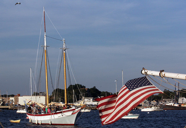 The locally built scooner Ardelle makes it way to Maritime Gloucester in Gloucester Harbor after setting sail on its maiden voyage from Essex where it was built. Photo by Maria Uminski/Gloucester Daily Times