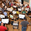 Gloucester: Band Director David Benjamin leads the band at a practice at the Americain Legion Hall, Monday night. Desi Smith /Gloucester Daily Times. August 22,2011