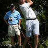 David Le/Gloucester Daily Times. Chris Husband watches as his drive splits the fairway during the Bass Rocks Golf Tournament on Thursday afternoon 8/18/11.
