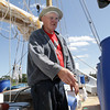 David Le/Gloucester Daily Times. Charles Burnham, father of Harold Burnham, talks with Bruce Slifer (not pictured) about barrel placement in preparation for a coast guard stability test on Monday afternoon. On Wednesday evening the Schooner Ardelle will make a trip to Maritime Gloucester. 8/22/11.