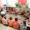 Gloucester: Mrs Anna O'Connor lets her first grade class entroduce them selves with some claps and wispers, when repeating their names on their first day of school at the Verterns Memorial School on Webster St, Wednesday morning. Desi Smith/Gloucester Daily Times. August 31,2011