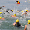 Gloucester:  Swimmers head out for the 1 mile swim, in the Annual Clean Harbor Swim at Niles Beach Saturday morning. <br /> Desi Smith/Gloucester Daily Times. August 13,2011