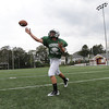 David Le/Gloucester Daily Times. Manchester-Essex junior quarterback Cory Burnham throws a pass during practice on Thursday afternoon. 8/25/11.
