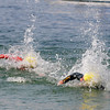 Gloucester: Ethan Saulnier edges out  Joe Sheehan in a close finish in the 1 mile Annual Clean Harbor Swim at Niles Beach Saturday morning. <br /> Desi Smith/Gloucester Daily Times. August 13,2011