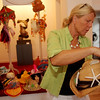 """ALLEGRA BOVERMAN/Gloucester Daily Times Artist and designer Sigrid Olsen designed a hat on Friday for the """"Pass the Hats"""" - a Gala Celebration of Gloucester's Rocky Neck Cultural District on Friday, August 17, from 6-10 pm. at 6 Wonson St. in Gloucester."""
