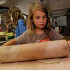 Rockport  : Caroline Hanson uses a very large rolling pin to flatten some clay that she will be using to make a sculpture at the Rockport Art Association inspired by glassblower Dale Chihuly, the class is being taught by artist Erin O'Sullivan through out th eweek. Jim Vaiknoras/staff photo