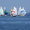 ALLEGRA BOVERMAN/Gloucester Daily Times Participants in the 420 Champions race off Wingaersheek Beach on Monday. The Annisquam Yacht Club is hosting the three-day-long Junior Olympic Sailing Festival.