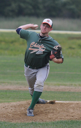 Jim Vaiknoras/Gloucester Daily Times: <br />   Ipswich's Kevin Michael pitches during their game against Manchester in the ITL baseball finals  at Memorial Field in Essex Wednesday night.