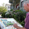 ALLEGRA BOVERMAN/Staff photo. Gloucester Daily Times. Gloucester: Artist Jeff Weaver of Gloucester was finishing a watercolor of a line of homes along Pleasant Street on Wednesdsay afternoon. He usually paints in oils, but this spot, to him, was more fitting for watercolor.