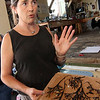 "ALLEGRA BOVERMAN/Gloucester Daily Times. Lanesville artist Camilla MacFadyen held a two-day workshop at Maritime Gloucester about collograph printmaking. Students collected seaweed at the pier in back of the museum, made plates by gluing the seaweed to cardboard pieces, like the one shown here, and applied fabric paint to the three-dimensional surface to print onto dozens of yards of silk chiffon and organza to make a collaborative art installation piece for the museum. The museum also provided fish to create prints from onto fabric and stuffed fish were sewed to swim in the silky virtual aquarium of seaweed images. A ""Stock the Tank"" party that highlighted the group art piece was held on August 18, and the installation will be on view for the rest of the month at Maritime Gloucester. See their website for museum hours at <a href=""http://maritimegloucester.org/"">http://maritimegloucester.org/</a>"
