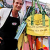 ALLEGRA BOVERMAN/Gloucester Daily Times Some of the recycled rice bags that are sold at Kiss on the Neck ice cream in Rocky Neck by Richard Ross of Rocky Neck. The bags are made in Senegal.