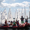 ALLEGRA BOVERMAN/Gloucester Daily Times Members of the Championship Optimus team from Annisquam Yacht Club before their races off Wingaersheek Beach on Monday. The Annisquam Yacht Club is hosting the three-day-long Junior Olympic Sailing Festival.