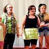 "Jim Vaiknoras/Gloucester Daily Times. Hope Miller, Amy Garity, Talia Dewolfe, and Sierra Rudolph in rehearsal for ""Fame Junior""  with O'Maley Middle School Drama Camp Thursday. The performance is at noon on Friday, at the Middle School, admission is free."