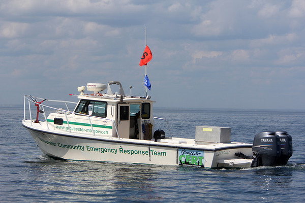 ALLEGRA BOVERMAN/Gloucester Daily Times The new Gloucester Commuity Emergency Response  Team boat was on hand to provide assistance during the  three-day-long Junior Olympic Sailing Festival. The Annisquam Yacht Club is hosting the event.