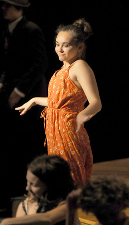 "Jim Vaiknoras/Gloucester Daily Times. Hannah O'Toole as Ms. Bell in rehearsal for ""Fame Junior""  with O'Maley Middle School Drama Camp Thursday. The performance is at noon on Friday, at the Middle School, admission is free."