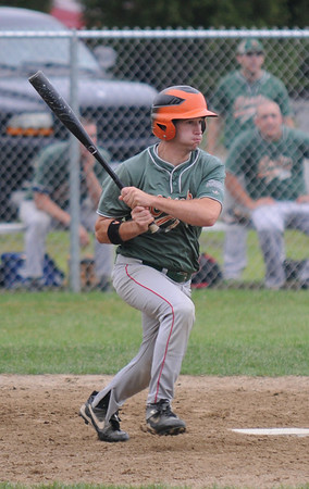 Jim Vaiknoras/Gloucester Daily Times: <br />   Ipswich's Andy Knox reacts to a hit during their game against Manchester in the ITL baseball finals  at Memorial Field in Essex Wednesday night.