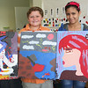 "ALLEGRA BOVERMAN/Gloucester Daily Times Members of the Art Club at Pathways for Children. From left with their finished canvases that will be auctioned at the upcoming ""A Place at the Table"" Gala in November are: Andrew Magnarelli, 9, Nick Nunez, 10, and Juleika Rodriguez, 12."