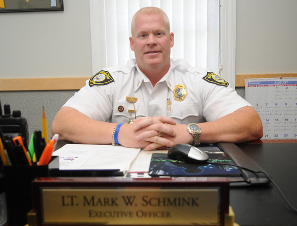 Jim Vaiknoras/Gloucester Daily Times: <br /> Rockport's first ever lieutenant, Mark Schmink at his desk at the Rockport Police Dept.