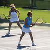 Gloucester: Ruth Lieberman and Barbara Treati show some teamwork in their match against Sandy Lakeman and Brenda Royt the Bass Rocks women's tennis tournament Monday. Jim Vaiknoras/staff photo