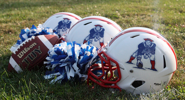MARIA UMINSKI/Gloucester Daily Times. The new football helmets for the Gloucester Patriots Youth Program come after the name change from the Gloucester Radiers to the Gloucester Patriots.