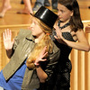 """Jim Vaiknoras/Gloucester Daily Times. Sierra Rudolph and Cara Stockman in rehearsal for """"Fame Junior""""  with O'Maley Middle School Drama Camp Thursday. The performance is at noon on Friday, at the Middle School, admission is free."""