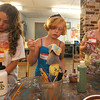 Rockport  : Sophia Polumbo,11, Susanna Burr,9, and Kyra Sieben , 9, paint their sculptures at the Rockport Art Association inspired by glassblower Dale Chihuly, the class is being taught by artist Erin O'Sullivan through out th eweek. Jim Vaiknoras/staff photo