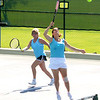 Gloucester:Sandy Lakeman and Brenda Royi show some teamwork in their match against  Ruth Lieberman and Barbara TreatiSandy Lakeman and Brenda Roy  at the Bass Rocks women's tennis tournament Monday. Jim Vaiknoras/staff photo