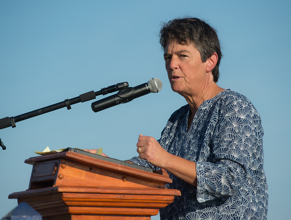 """Desi Smith Photo.   Sword Fishing Captain and Author Linda Greenlaw speaks at the Annual Gloucester Fishermen's Memorial Service held Saturday afternoon on Stacey Boulevard. This year marks the 25th year of the Perfect Storm, were Greenlaw, former Captain of the Hannah Boden, tryed to warn the Andrea Gail about the impending storm in 1991 and was the last person to be in contact with the Andrea Gail's Captain Frank W. """"Billy"""" Tyne Jr.    August 27,2016."""