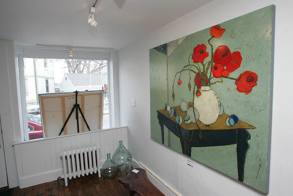 Rockport: a painting of poppies by local artist Karen Tusinski who owns Tusinski Gallery on Main Street in Rockport.. Mary Muckenhoupt/Staff Photo
