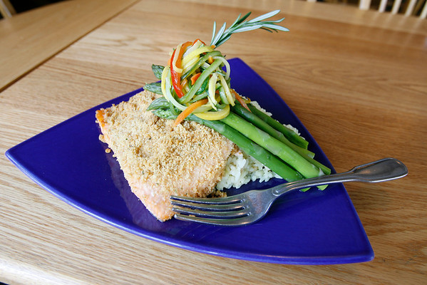 dijon encrusted salmon with asparagus. Photo by Kate Glass