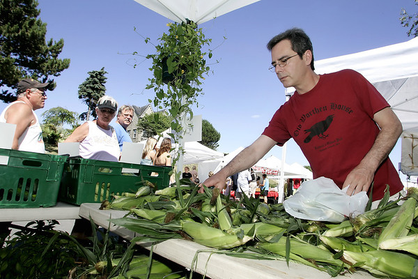 Gloucester:  Mark Cornaro of Gloucester picks some fresh native corn from the Brox Farm stand at the Cape Ann Farmers Market held at Harbor Loop Thursday afternoon.  The market will be open every Thursday 3 to 7 p.m. from now until October 11.  <br /> Photo by Mary Muckenhoupt/Gloucester Daily Times Thursday, July 12, 2007