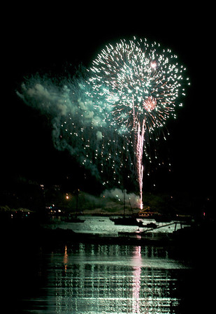 Gloucester: Fireworks go off from Stagefort Park Saturday night, as seen from East Main St near Rocky Neck. Desi Smithj Photo/Gloucester Daily Times. September 5,2009