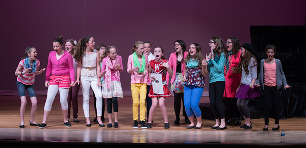 """Desi Smith/Staff Photo. The Manchester Middle School all girl cast, perform a scene from """"Legally Blonde Jr."""" at a dress rehearsal Thursday night at MERHS in preparation for the play's Friday opening, which will run throuh Sunday at the Manchester Essex Regional High School Middle School Auditorium.<br /> December 10,2014"""
