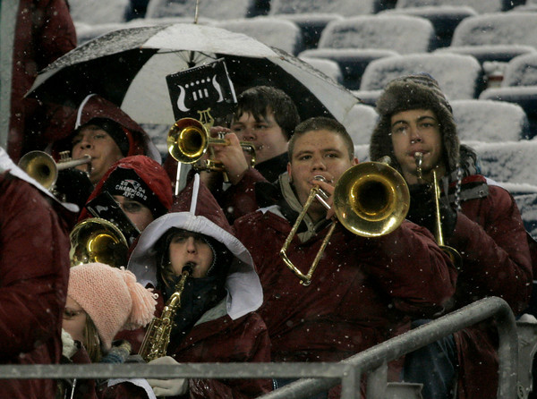 Foxborough: The Docksiders battle the cold and snow as they perform at the Division IA Superbowl between Gloucester and Bridgewater-Raynham at Gillette Stadium on Saturday night. Photo by Kate Glass/Gloucester Daily Times