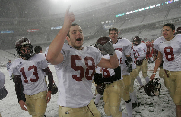 Foxborough: Gloucester's Jeff Lane celebrates their 33-13 victory over Bridgdewater-Raynham in the Division IA Superbowl at Gillette Stadium on Saturday night. Photo by Kate Glass/Gloucester Daily Times