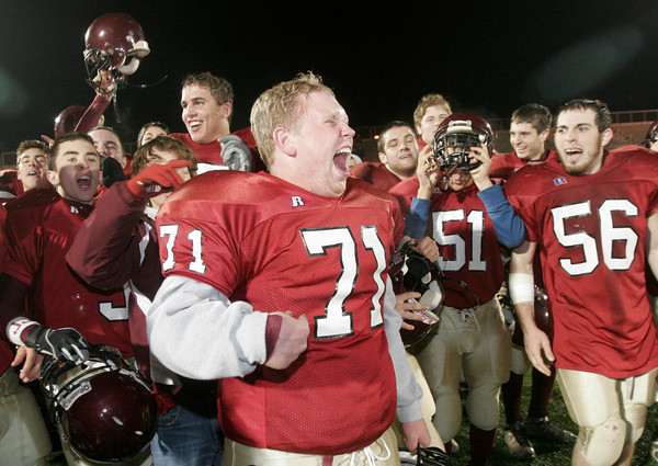 Lynn: Kyle Jenkins screams as he and his teammates celebrate their third consecutive trip to the Super Bowl following their 34-28 win over Westford Academy at Manning Field in Lynn last night. Photo by Kate Glass/Gloucester Daily Times