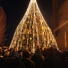 Gloucester: Hundreds of people gathered to watch the lighting of the lobster trap tree on Main Street Saturday evening.  Mary Muckenhoupt/Gloucester Daily Times