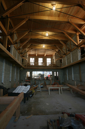 Rockport: The ceiling of the Shalin Liu Performance Center, featuring large wooden beams, is completed. Photo by Kate Glass/Gloucester Daily Times
