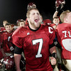 Lynn: Gloucester football captain Brett Cahill screams as he and the team celebrate their third consecutive trip to the Super Bowl following their 34-28 win over Westford Academy at Manning Field in Lynn last night. Photo by Kate Glass/Gloucester Daily Times