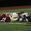 Lynn: Gloucester's Conor Ressel just barely gets the ball into the end zone to give the Fishermen a 34-28 win over Westford Academy at Manning Field in Lynn last night. Photo by Kate Glass/Gloucester Daily Times