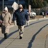"Rockport: Enid and David Wise of Rockport brave the cold and walk Stacy Boulevard Thursday afternoon.  ""It's not so bad once you get moving,"" said Enid. ""It's the power of inertia."" Mary Muckenhoupt/Gloucester Daily Times"