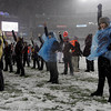 Foxborough: The Gloucester cheerleaders brave the elements to root for the Fishermen in the Division IA Superbowl at Gillette Stadium on Saturday night. Photo by Kate Glass/Gloucester Daily Times