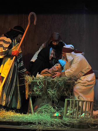 Rockport: Performers reenact the Birth of Christ at the 1st Congreational Church Saturday night, for the 64th Annual Christmas Nativity Pageant.  Desi Smith Photo/Gloucester Daily Times. December 19,2009.