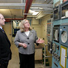 Gloucester: Mayor Carolyn Kirk shows Congressman Mike Capuano the outdated instrumentation panel used at the Babson Water Treatment Plant that still uses circle charts which were used before computers Thursday afternoon.  Kirk is endorsing Capuano for the Senate seat. Mary Muckenhoupt/Gloucester Daily Times