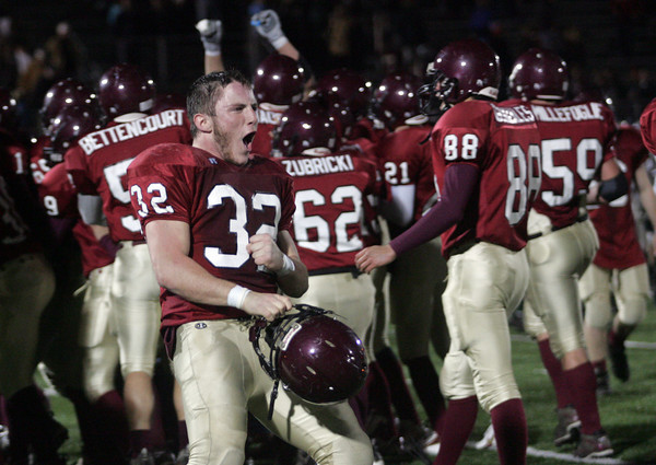 Lynn: Gloucester running back Conor Ressel screams as he and his teammates celebrate their third consecutive trip to the Super Bowl following their 34-28 win over Westford Academy at Manning Field in Lynn last night. Photo by Kate Glass/Gloucester Daily Times