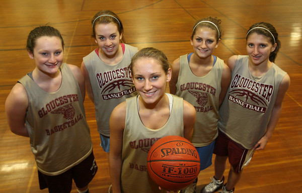 Gloucester: Gloucester captain Hannah Cain, center, has returned from an ACL injury and will join Audrey Knowlton, Sophia Black, Heather Cain, and Katie Ciaramitaro as the starters on Gloucester's basketball team. Photo by Kate Glass/Gloucester Daily Times
