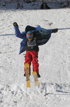 Rockport: Charlie Larsen, 13, skis off a jump at Evans Field earlier this week. Photo by Kate Glass/Gloucester Daily Times