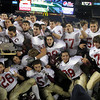 Foxborough: The Gloucester Fishermen celebrate their 34-13 win over Bridgewater-Raynham in the Division IA Super Bowl at Gillette Stadium on Saturday night. Photo by Kate Glass/Gloucester Daily Times